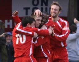 Richard Davies is congratulated by his team-mates. Pic: Dave Birt