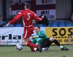 Richard Davies skips round the keeper before scoring against Eastleigh. Pic: Dave Birt