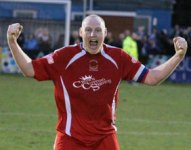 Captain Richard Teesdale celebrates the victory. Pic: Dave Birt