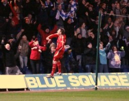 Ben Jevons celebrates in front of the Chasetown fans. Pic: Dave Birt