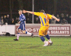Louis Briscoe fires Mansfield Town back in front. Pic: Dave Birt
