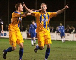 Paul Connor celebrates putting Mansfield Town 1-0 in front. Pic: Dave Birt