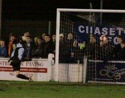 Paul Connor's strike beats Chasetown goalkeeper Ryan Price. Pic: Dave Birt