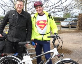 Peter Evans (right) with fellow cyclist Chris Jones