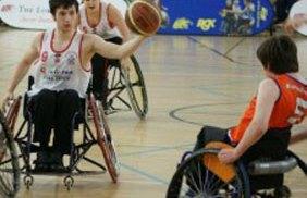 Rhinos wheelchair basketball team in action