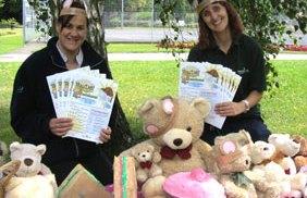 Lyn Hammant and Ruth Witczak get ready for the teddy bears' picnic at Beacon Park