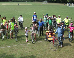 Cyclists take a break during the July ride to Whittington