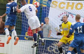 Alex Steadman heads home the Chasetown equaliser. Pic: Dave Birt