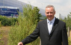 Cllr Ben Adams outside the new Amazon distribution centre
