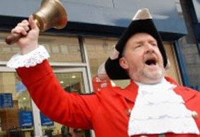 Lichfield town crier Ken Knowles in action