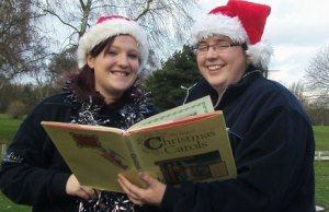 Stacey Coleman and Becky Docksey get ready for Carols in the Park