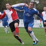 Chasetown captain Gary Birch battles for the ball. Pic: Dave Birt