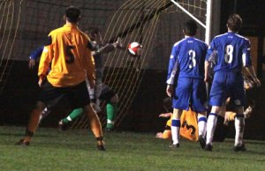 James Skedgel forces home a 120th minute winner for Rushall. Pic: Dave Birt