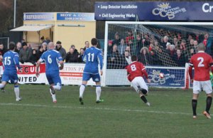 Dean Stott scores for FC United against Chasetown. Pic: Dave Birt