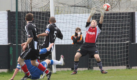 Danny Smith finds the net. Pic: Dave Birt