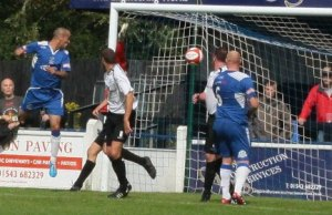 Gary Hay heads Chasetown in front against Rocester. Pic: Dave Birt