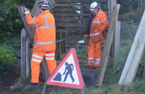 Workers repairing the Hammerwich Station footbridge. Pic: SouthStaffsRail