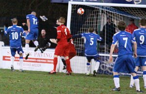 Theo Robinson heads home his second goal against Stamford. Pic: Dave Birt