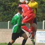 The Bishops Cleeve goalkeeper comes under pressure. Pic: Pamela Mullins