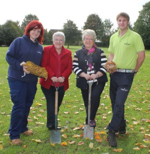 Stacey Coleman, Cllr Sue Woodward, Cllr Val Richards and James Myers in Chase Terrace Park