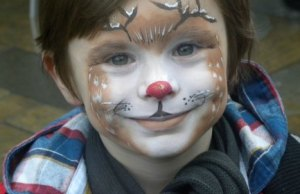 Hayden Wall with his festive face painting