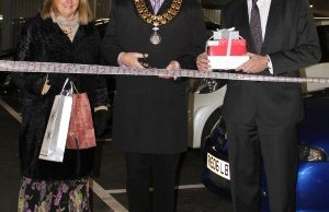 Ruth Plant and Cllr David Leytham join David Clancy for the official opening of the car park