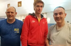 Rick Hill OBE with lifeguard James Madeley and Neil McDonald