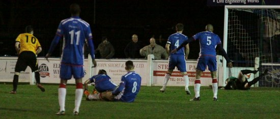Jordan Johnson finds the net against Chasetown. Pic: Dave Birt