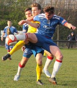 Joe Halsall comes under pressure. Pic: Dave Birt