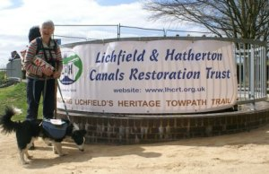 Heather Bacon with her dog Jem on part of the Lichfield and Hatherton canal. Pic: Lichfield and Hatherton Canals Restoration Trust