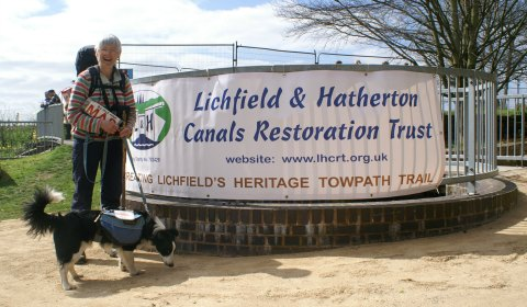 Heather Bacon with her dog Jem. The official opening of a section of the Lichfield Canal Heritage Towpath Trail. Pic: Lichfield and Hatherton Canals Restoration Trust