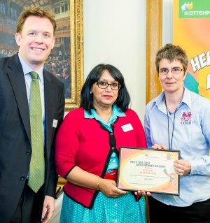 Neil Clitheroe from ScottishPower, with Baroness Verma, Parliamentary Under Secretary of State, and Jules Hill