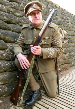 A re-enactor in uniform in The Staffordshire Regiment Museum's trench system. Pic: Terry Fidgeon