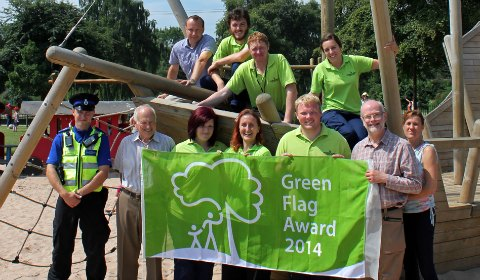 The Green Flag Award is celebrated in Beacon Park's play area