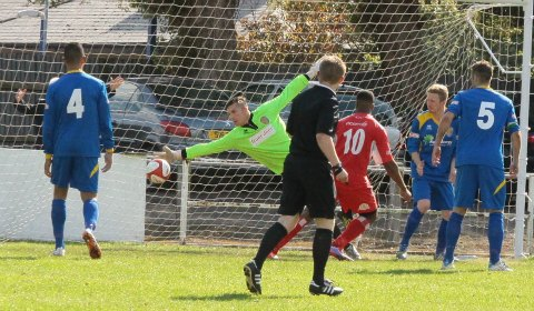 Nathan Waite's effort beats the Spalding keeper. Pic: Dave Birt