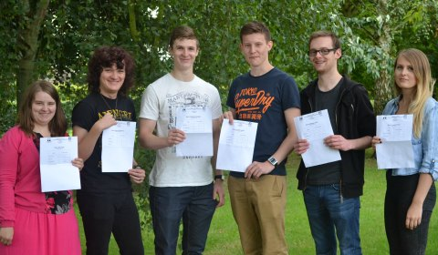 Mia Parry, Samuel Weston, Matt Dodgson, Lewis Heely, Matthew Corry and Lauren Fisher with their results