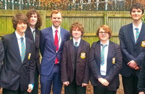 Chris Worsey meets pupils and teachers during his visit to King Edward VI School