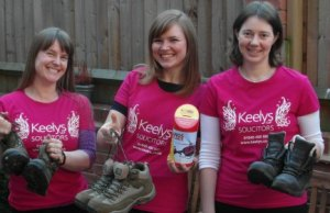 Three of the charity walkers from Keelys LLP