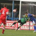 Paul Sullivan's strike is headed off the line. Pic: Dave Birt