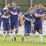 Chasetown's players celebrate Nathan Waite's goal. Pic: Dave Birt