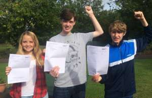 Jasmine Fox, Noel Whelan and Jay Kirby celebrating their GCSE results