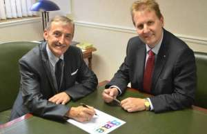 Cllr Mike Wilcox with Police and Crime Commissioner Matthew Ellis