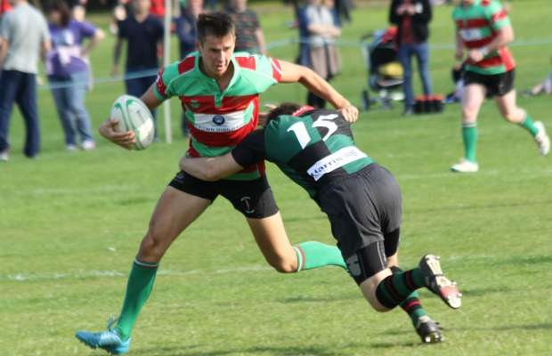Rob Jones is tackled. Pic: Joanne Gough