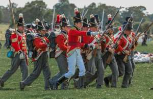 A group of redcoat re-enactment soldiers