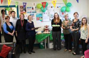 Busy Bees staff at their Macmillan coffee morning event