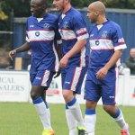Stan Mugisha is congratulated by his team-mates. Pic: Dave Birt