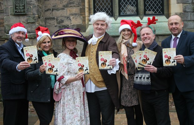 Richard Lewis from the Chamber of Trade & Commerce, Shirley Poxon from Touch FM, Tracy Newton from Erasmus Darwin House, Chris Gray from Lichfield Cathedral, Lizzie Thatcher and Jonathan Oates from Lichfield District Council, and Paul Maddox, Chairman of Lichfield BID