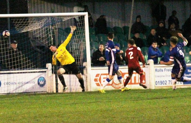 Ryan Wynter scores for Chasetown. Pic: Dave Birt