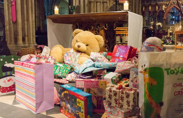 Donated toys at Lichfield Cathedral
