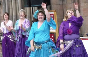 The belly dancers performing outside Lichfield Cathedral